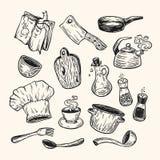 Het koken en keukengereedschap Royalty-vrije Stock Afbeelding