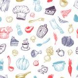 Het koken en keukengereedschap Patroon Stock Afbeelding