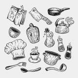 Het koken en keukengereedschap reeks Stock Afbeelding