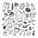 Het koken en keukengereedschap reeks Stock Foto's