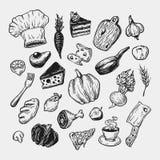 Het koken en keukengereedschap reeks Royalty-vrije Stock Afbeelding