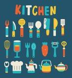 Het koken en keukenpictogrammen Royalty-vrije Stock Afbeelding