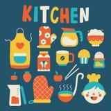 Het koken en keukenpictogrammen Royalty-vrije Stock Foto's