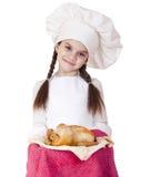 Het koken en mensenconcept - glimlachend meisje in kokhoed Stock Foto