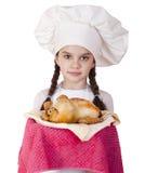 Het koken en mensenconcept - glimlachend meisje in kokhoed Royalty-vrije Stock Foto