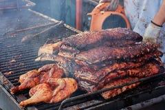 Het koken festival van de barbecue het openluchtgrill in Vancouver stock afbeelding