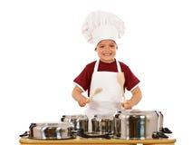Het koken heeft hard maar pret sloeg Stock Foto's