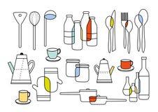 Het koken het eten en huiswarenmateriaal Stock Afbeelding