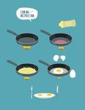 Het koken instructie Hand kokende roereieren Gebraden gerecht omelett Royalty-vrije Stock Foto