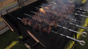 Het koken kebab op vleespennen op een barbecuegrill