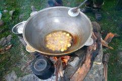 Het koken in ketel Stock Afbeelding