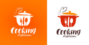Het koken, keuken, het kokenembleem Restaurant, menu, koffie, diner etiket of pictogram Vector illustratie stock illustratie