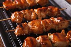 Het koken kippenyakitori van geroosterd horizontale close-up Stock Foto