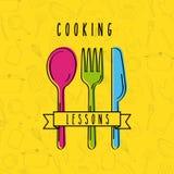Het koken lessen vlak royalty-vrije illustratie
