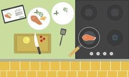 Het koken met de toepassing van de tablet Stock Fotografie