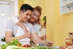 Het koken met Liefde Stock Afbeeldingen