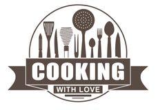 Het koken met liefde om vectorontwerp voor uw embleem of embleem met banner en silhouetten van het koken van werktuigen en keuken royalty-vrije illustratie