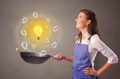 Het koken nieuw idee in wok royalty-vrije stock afbeelding