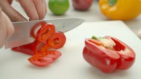 Het koken procédé Rode groene paprika's Persoon die rode groene paprika's hakken stock videobeelden