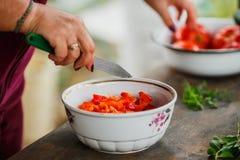 Het het koken procédé voor verse groentesalade, gezonde voeding, vrouwen` s handen sneed komkommers en tomaten stock fotografie