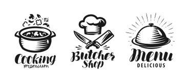 Het koken, slagerij, menuembleem of etiket Het concept van het voedsel Van letters voorziende Vectorillustratie royalty-vrije illustratie