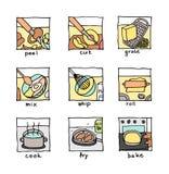 """Het koken stappen bakt de pictogrammen†""""besnoeiing, galm, mengeling, kok, … Stock Afbeelding"""