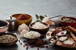 Het koken stilleven met geassorteerde zouten en kruiden royalty-vrije stock foto