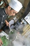 Het koken van de chef-kok bij diner Royalty-vrije Stock Afbeeldingen