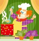Het koken van de clown Royalty-vrije Stock Afbeeldingen
