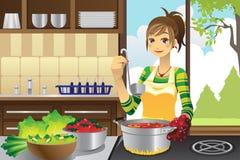 Het koken van de huisvrouw Royalty-vrije Stock Afbeeldingen