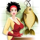 Het koken van de vissen Royalty-vrije Stock Fotografie