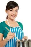Het koken van de vrouw Stock Foto