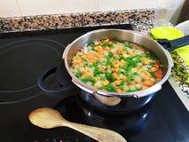 Het koken van een aanzet met gemengde groenten stock fotografie