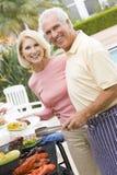 Het Koken van het paar op een Barbecue Stock Foto's