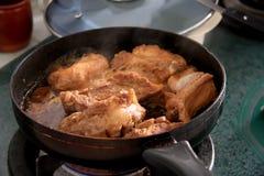 Het koken van het vlees royalty-vrije stock foto