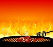 Het koken van het vlees op barbecue vector illustratie