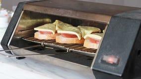 Het koken van hete sandwiches stock video