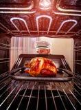 Het koken van kip in de oven Royalty-vrije Stock Afbeeldingen
