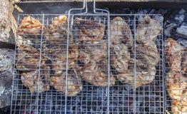 Het koken van kip op vleespennen op het strand Royalty-vrije Stock Foto