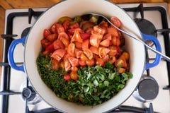 Het koken van naar huis gemaakte tomatensaus met verse kruiden op gasfornuis Stock Afbeelding