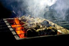 Het koken van Rokerige & Kruidige rundvleesbarbecue in steenkoolbrand Royalty-vrije Stock Afbeeldingen