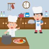 Het Koken van twee Chef-koks Royalty-vrije Stock Afbeelding