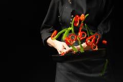 Het koken van verse groenten in de panchef-kok Het horizontale foto bekijken Donkere zwarte achtergrond met het gebied van de exe stock afbeelding