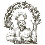 Het kokende vectormalplaatje van het embleemontwerp chef-kok, kok of Stock Fotografie