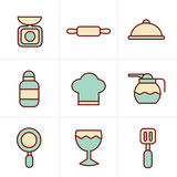 Het Kokende Voedsel van de pictogrammenstijl en de pictogrammen geplaatste van het Keukenoverzicht Stock Afbeelding