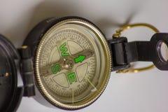 Het kompas een waardevol instrument eens om te navigeren, het wijst op de manier, de richting een kompas voor het leven zou verei stock foto's
