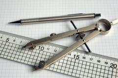 Het kompas en de heerser van het potlood Royalty-vrije Stock Afbeeldingen
