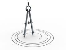 Het kompas van de cirkeltekening Stock Afbeelding