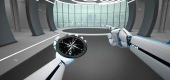 Het Kompas van de de Handenwenk van de Humanoidrobot royalty-vrije illustratie
