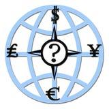 Het kompas van de munt Stock Afbeelding
